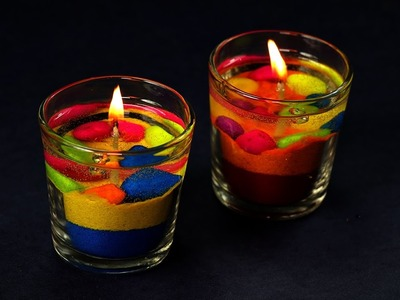 DIY Colorful Gel Candles Making - Diwali Decoration Ideas