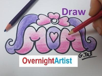 Draw Mom How To Draw Mom Heart flower ribbon