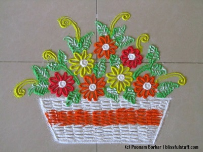 Easy and small flower bucket rangoli design | Innovative rangoli by Poonam Borkar