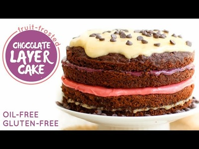 Fruit Frosted Chocolate Layer Cake. oil-free, gluten-free, vegan