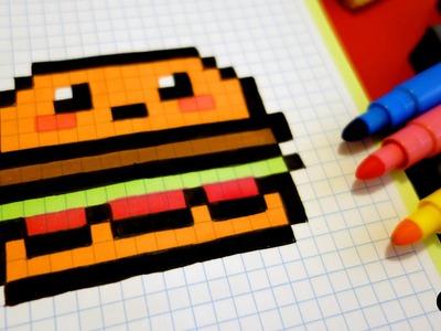 Handmade Pixel Art - How To Draw Kawaii Hamburger #pixelart #kawaii