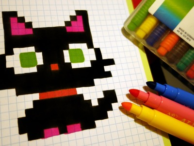 Handmade Pixel Art - How To Draw a Kawaii Black Kitty #pixelart
