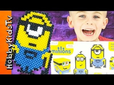 Minion FUSED Beads! Surprise Toy Review + Arts and Crafts Perler Beads Family Fun HobbyKidsTV