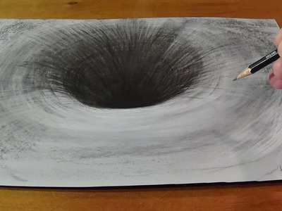 Drawing a 3D Black Hole, Anamorphic Art