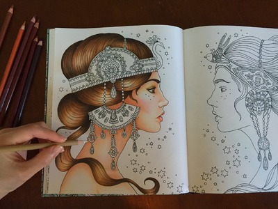 HOW I COLOR SKIN & HAIR   Dagdrömmar Coloring Book   Coloring With Colored Pencils