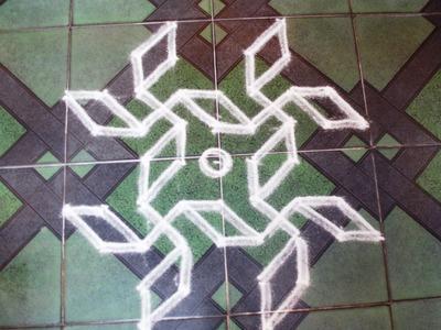 Kolam for beginners(5-5 dots)