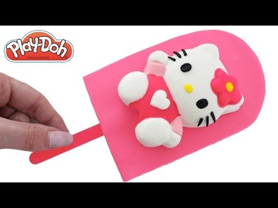 Play Doh How to Make a Hello Kitty Ice Cream Popsicle DIY RainbowLearning