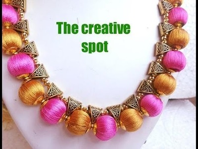 Silk thread Bail necklace-perfect finish | Tutorial !!!!!