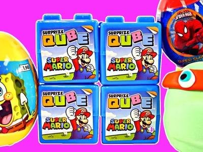 Surprize Qube Super Mario Spongebob Surprise Eggs Play Doh Teenage Mutant Ninja Turtles Spiderman