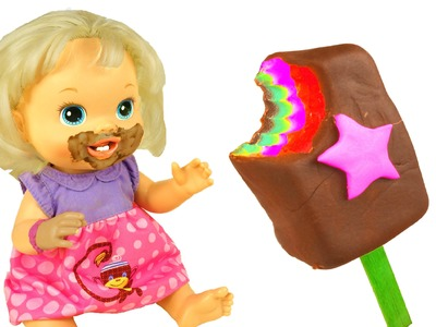 Baby Alive eating PLAY DOH  Rainbow Chocolate Posicle How to make Play Doh Ice cream DTC