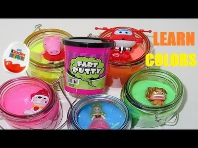 Fart Putty Learn Colors with Rainbow Jars Surprise Egg Disney Spot Cars Princess Figures