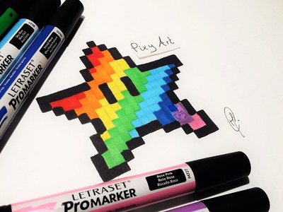 How to Draw Rainbow Star Mario - Pixel Art (Easy !)