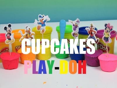 Mickey Mouse Play Doh Rainbow Multicolor Cupcake tops Friends Minnie Donald Pluto Goofy Daisy