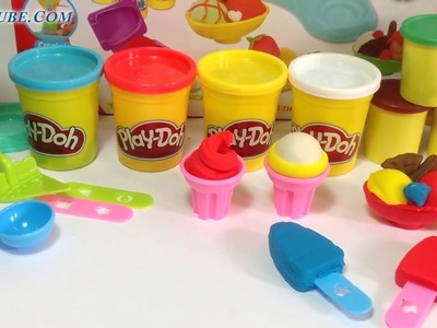 Play Doh Ice Cream Maker Ice Cream Ultimate Rainbow Popsicle Paleta Ghiacciolo by SumoTubeHD