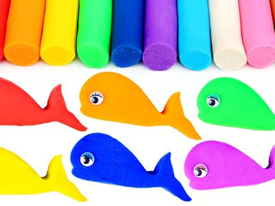 PlayDough Modelling Clay Rainbow Whales Molds Fun and Creative For Kids Learn Colors Play