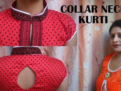 Collar neck kurti cutting and stitching DIY with latest diamond shape back design