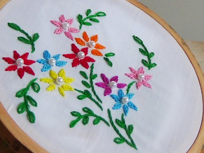 Hand Embroidery: Close Fly Stitch Flowers