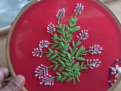 Hand Embroidery Lazy daisy Stitch and French knot Stitch by Amma Arts.