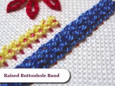 Hand Embroidery Raised Cup Stitch - Raised Fishbone Stitch