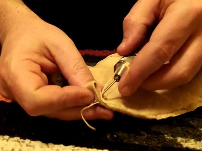 Sewing Brain Tanned Buckskin Pouch With Speedy Stitcher Sewing Awl