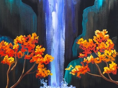 Autumn Aloha Tropical Waterfall Step by Step Acrylic Painting on Canvas for Beginners