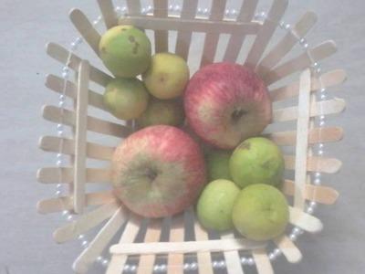 DIY: How to make fruit bowl.fruit basket using popsicle sticks. ice cream sticks