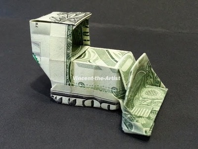 Money Origami Bull Dozer - Dollar Bill Art