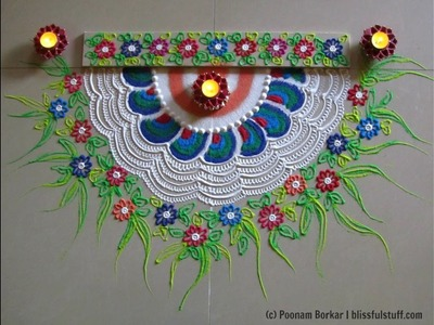 Diwali special - Beautiful and unique semi circle rangoli | Innovative rangoli by Poonam Borkar