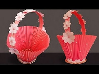 DIY Paper Basket   How to Make Easy Accordion Paper Basket for Chocolates   Christmas Gift Basket 1