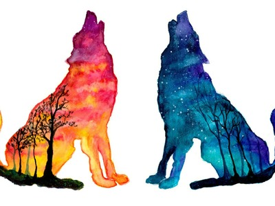 Day & Night Wolves - Double Exposure Speed Painting [Watercolor & Gouache]