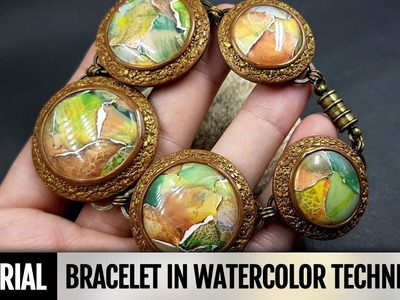 DIY! How to make Beautiful Bracelet in Watercolor technique. Video Tutorial