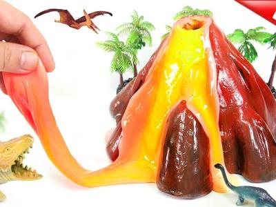 How To Make VOLCANO SLIME!! Glow Lava Slime! With Frozen Elsa & Dinosaur