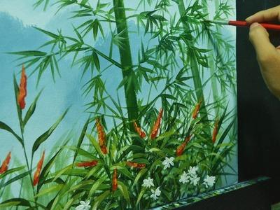Acrylic Landscape Painting Lesson - Bamboos on Misty Mountains by JMLisondra