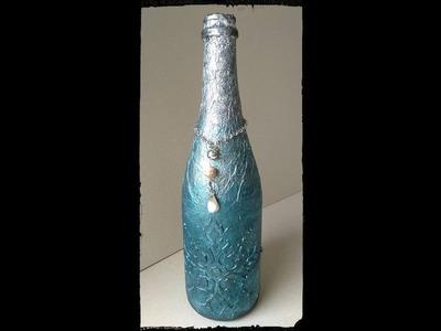 Botella con decoración navideña. Christmas bottle decor (DIY collab)