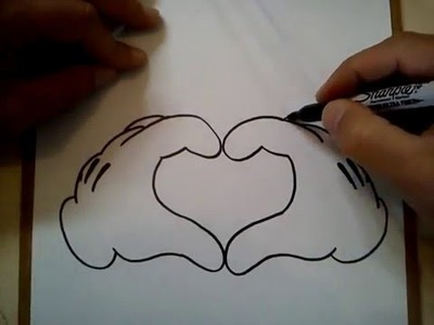COMO DIBUJAR UN CORAZON (MICKEY MOUSE). HOW TO DRAW A HEART (MICKEY MOUSE)