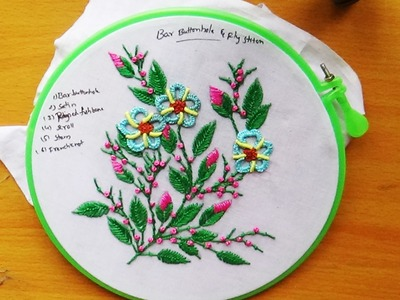 Hand Embroidery  Designs # 104 - Bar buttonhole & Fly stitch Designs