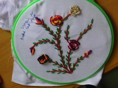 Hand Embroidery Designs # 151 - Knotted cast flower design
