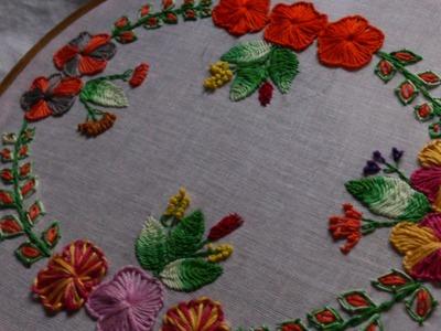 Hand embroidery designs-Button hole stitch,cretan stitch.