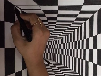 How to draw 3D Art, drawing tunnel