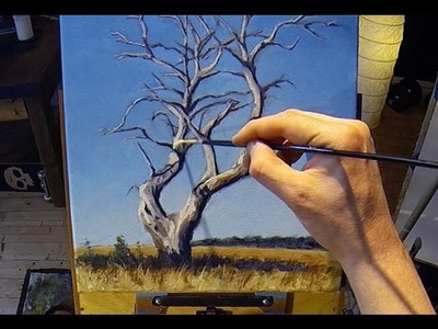 How To Paint a Tree - Acrylic Painting Lesson + Grid Drawing Lesson In Real Time