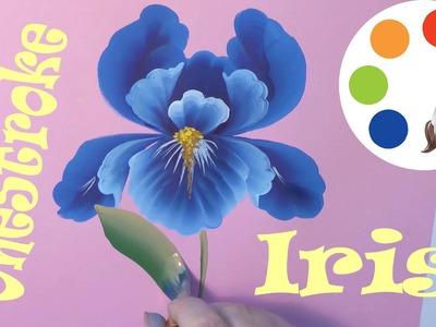 OneStroke, Painting the Iris flower, Cómo dibujar una flor de iris, irishkalia