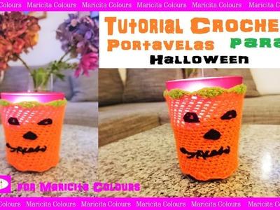 Portavelas a Crochet para halloween por Maricita Colours
