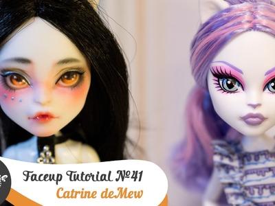 Faceup Tutorial №41 Catrine deMew OOAK Monster High Custom doll repaint by WillStore