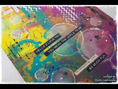 How to Dylusions Paints Mixed Media Journaling in Colour Tutorial #3 'Hello I love you'