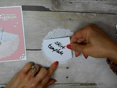 Tea Lace Doily Wedding Dress Card