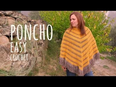 Tutorial Easy Crochet Mustard Boho Poncho