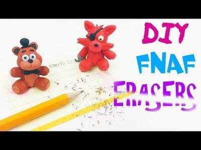 DIY FNAF ERASERS FOXY & FREDDY - Sister Location clay erasers craft how to polymer clay tutorial