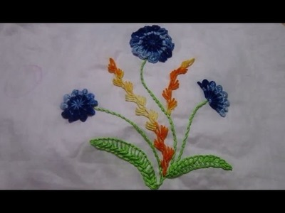 Hand Embroidery Design   Spider and Cast on Knotted Flower