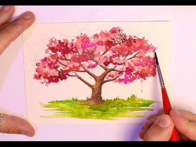 HOW TO PAINT A TREE - WATERCOLOR PAINTING - CHERRY BLOSSOM TREES TUTORIAL ART