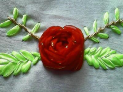 Kreasi sulam pita-Cara membuat bunga mawar dari pita-How to make roses from ribbon
